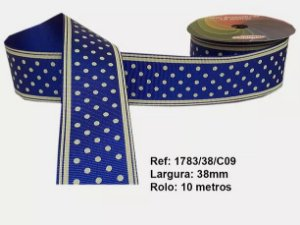 Fita de Gorgurão Poá com Listras Azul Royal 09