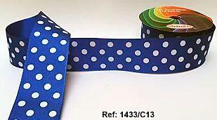 Fita Decorativa com Poá - C13 Azul c/ Branco