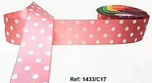 Fita Decorativa com Poá - C17 Rosa c/ Branco