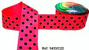Fita Decorativa com Poá - C22 Rosa Fluorescente c/ Preto