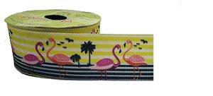 Fita de Gorgurão Flamingo com Listras 681