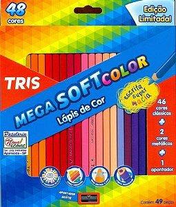 Lápis de cor 48 cores - 46 clássicas+2 cores metálicas + apontador - Mega SoftColor Tris