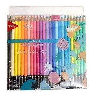 Lápis de cor tons pastéis com 24 cores Vibes + 01 lápis 6B - Tris