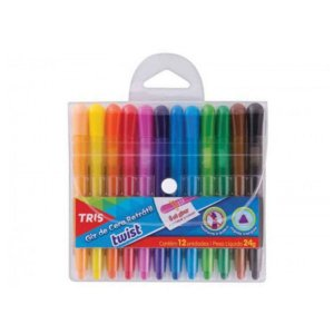 Giz de cera retrátil Twist - 12 cores - Tris