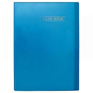 Pasta catálogo Clear Book - 30 sacos plásticos - 307mm x 228mm - A4 - azul - Yes