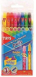 Giz de cera retrátil Fruits - 8 cores - c/cheirinho de frutas - Tris
