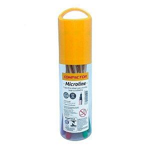 Conjunto caneta microline com 12 cores - ponta 0,4mm - Compactor