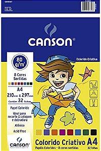 Papel colorido criativo - 80g/m2 - A4 - 32 folhas - 8 cores - Canson