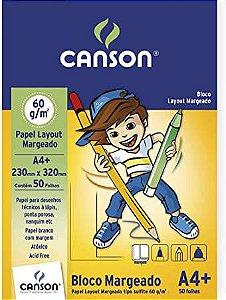 Bloco papel layout margeado - 60g/m2 - 230mm x 320mm - 50 folhas - branco - Canson