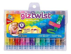 Giz de cera jumbo retrátil Twist  12 cores - Tris