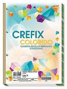 Refil de fichário colorido - 96 folhas - 4 furos - 200mmx275mm - Crefix colorido - Credeal