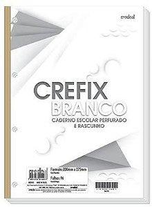 Refil de fichário branco - 96 folhas - 4 furos - 200mmX275mm - Crefix branco - Credeal