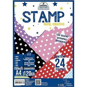 Stamp Papel criativo - 24 folhas - 4 estampas - 120g/m2 - A4 - Romitec