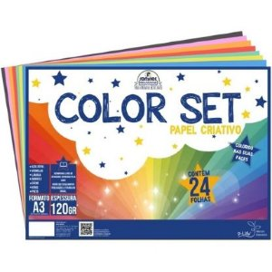 Papel colorset A3 - 120g/m2 - 24 folhas - 8 cores - Romitec