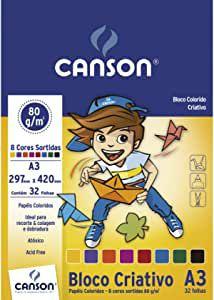 Bloco colorido A3 - 32 folhas - 8 cores - 80g/m2 - Canson