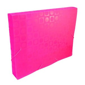 Pasta plástica com aba elástico ofício - lombada de 20mm - rosa pink - DAC