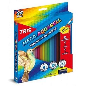 Lápis de cor aquarelável 24 cores + pincel + apontador - Tris