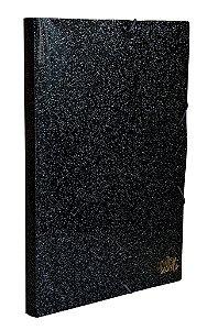 Pasta aba elástico ofício preta glitter - lombada 2cm - COM AROMA - Dello