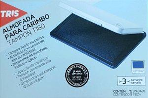 Almofada para carimbo - tinta azul - 10,6cm x 6,8cm - tampa e fundo metálicos - Tris
