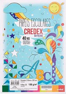 Papel de desenho A4 - branco - 120g/m2 - pacote com 50 folhas - Credeal