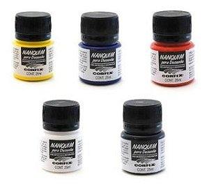Tinta nanquim para desenho - 25 ml - preto/ branco/ amarelo ouro/ vermelho fogo/ verde bandeira/ azul ultramar - CORFIX