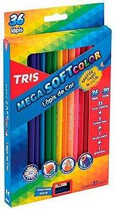 Lápis de cor 36 cores - 33 clássicas + 2 bicolor neon + 1 bicolor metal + apontador - Mega SoftColor - Tris
