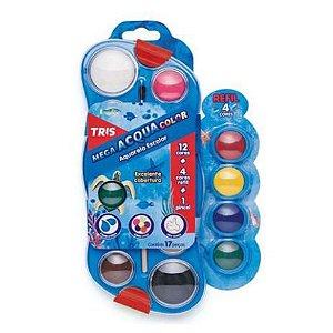 Aquarela escolar em pastilhas - 12 cores + 4 cores refil + pincel - Mega AcquaColor Tris