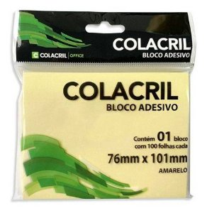 Bloco adesivo - 76mmx101mm - amarelo - 100 folhas - Colacril