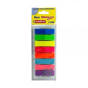 Marcadores de páginas adesivos - Régua Memo Notes - 12mmx42mm - 8 cores - 200 unidades - Adelbrás