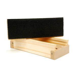 Apagador de madeira pinus com estojo para giz - 4,5x8x17cm - Stalo