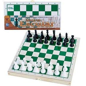 Xadrez escolar - tabuleiro em madeira -peças plásticas -Pais&Filhos