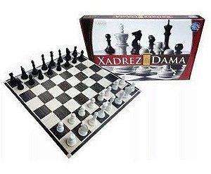 Xadrez & Dama - peças plásticas (5,4cm) - tabuleiro em cartão - Pais&Filhos