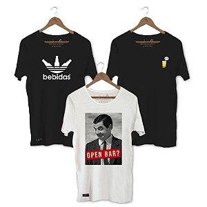 Kit Camisetas Unibutec - Mr. Bean + Bebidas Preta + Bora?