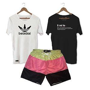 Kit Camisetas + Short Praia Unibutec - Bebidas + Limite + Listras