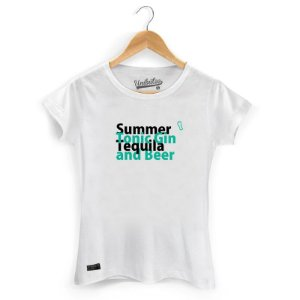 Camiseta Baby Look Unibutec Summer, Tonic Gin, Tequila and Beer