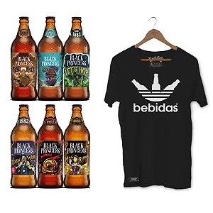Kit Presente Cervejas Especiais Black Princess + Camiseta Unibutec Bebidas Preta