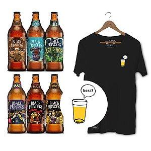 Kit Presente Camiseta Unibutec Bora Preta + Cervejas Especiais Black Princess