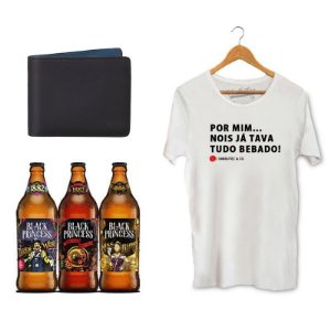 Kit Presente Camiseta Unibutec Tudo Bêbado + Carteira Unibutec + Cervejas Especiais Black Princess Doctor Weiss, Back to The Red e Miss Blond
