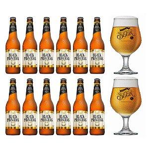 Kit 12 Cervejas Black Princess Gold Long Neck + 2 Taças Logo Beer Originals