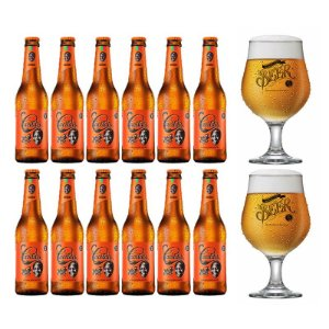 Kit 12 Cerveja Cacildis Long Neck 355ml + 2 Taças Beer Originals