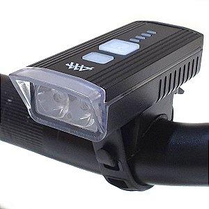Farol Lanterna Bike 2 Leds Recarregável Forte Com Sensor