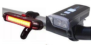 Farol Bike 2 Leds Recarregável Forte Sensor + Lanterna Tras.