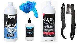 Kit Limpeza Bike Shampoo + Desengraxante 1L + Óleo + Escovas