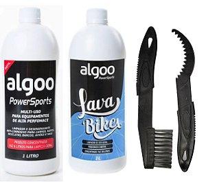 Kit Limpeza Bike Desengraxante + Shampoo Algoo + Escova