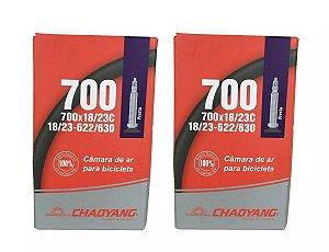 Par Câmara Ar Chaoyang Speed 700x18/25 Bico Presta Fino 48mm