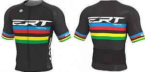 Camisa Elite Ert Campeão Mundial Ciclismo Preta Slim Fit
