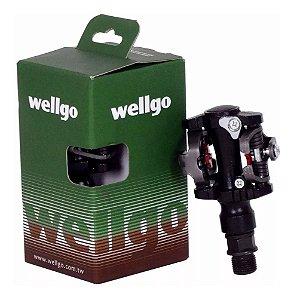 Pedal Mtb Clip Wellgo M919 C/ Regulagem E Tacos P/ Sapatilha