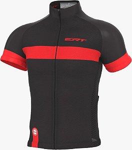Camisa Ciclismo Ert Nova Tour Strip Black Red Bike Mtb Speed