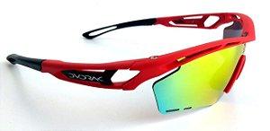 Óculos Ciclismo Dvorak One Vermelho 3 Lentes Padrão Rudy