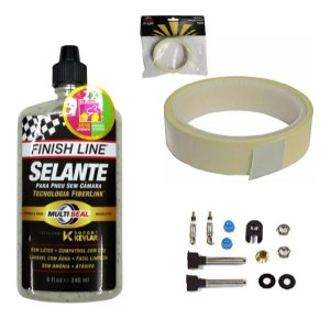 Selante Finish Line 240ml + Fita 25mm + Válvulas Tubeless